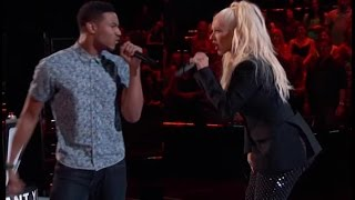 Christina Aguilera sings with contestant on the Voice