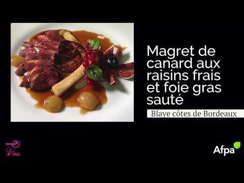 Accords mets et vins - Magret de canard aux raisins et foie gras sauté
