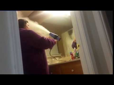 Download Baby powder hair dryer prank goes wrong as it bursts into FLAMES