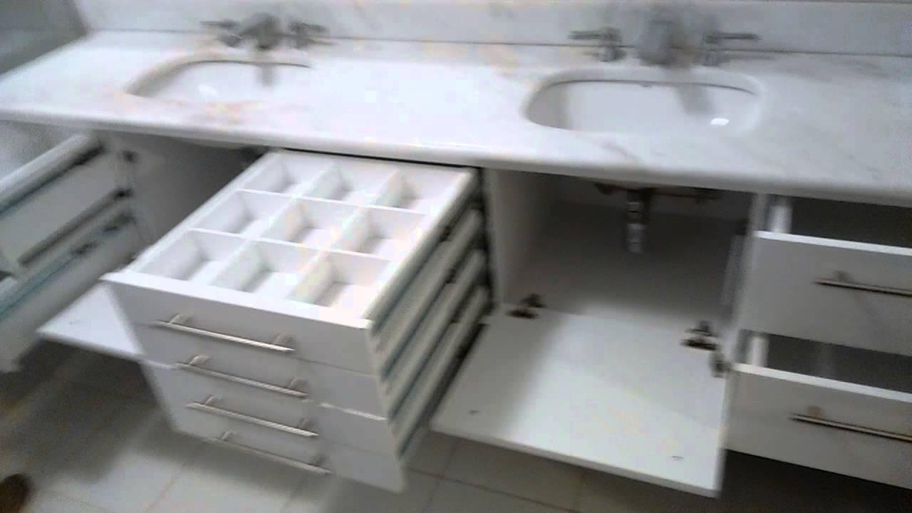 Gabinete de Banheiro com Gavetas com Colméias  YouTube # Gabinete De Banheiro Luxo