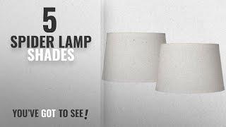 Top 10 Spider Lamp Shades [2018 ]: Set of 2 White Linen Drum Lamp Shade 10x12x8 (Spider)