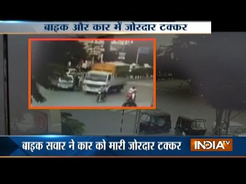 Caught on Camera: Biker dies after being hit by a car in Surat