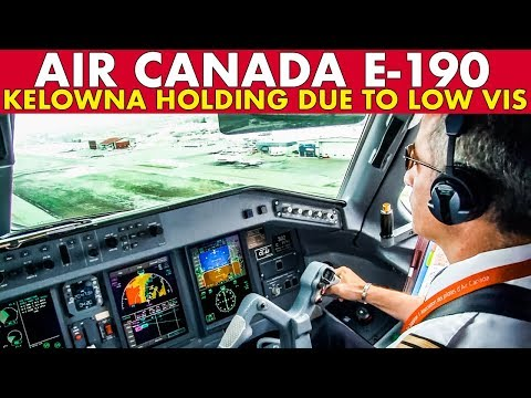 Piloting AIR CANADA E-190 Into Kelowna + Weather Holding