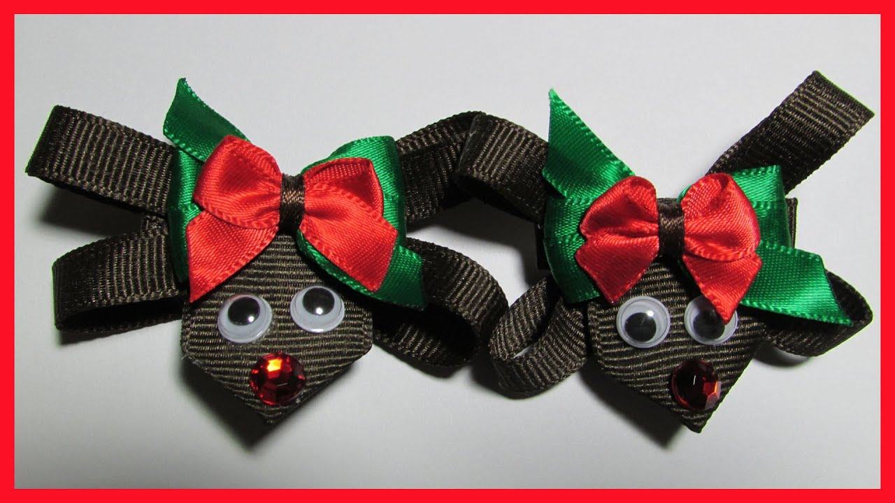 DIY - How to make Christmas Hair Bow Clips No.1- Reindeer Hair Bows - Free  Tutorial 69f401c43b4