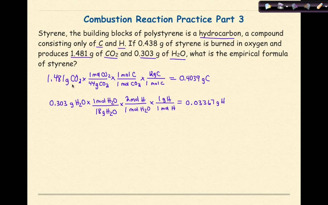 Combustion Reactions Problem 3 Youtube
