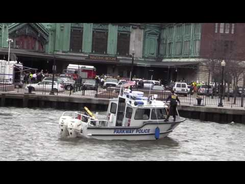 HOBOKEN NJ TRAIN CRASH Marine Units Operating at the Scene NJSP, NYPD and Parkway Police Boat