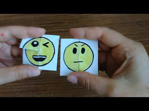 Kağıttan Emoji Değişen Yüz Yapımı / Emoji Paper Magic Card