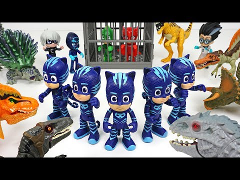 Thumbnail: Friends got caught by Dinosaurs army! Go PJ Masks Mirror Image attack!! - DuDuPopTOY