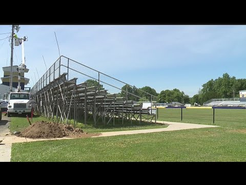 Crews install new LED lights at Brookfield Schools' stadium