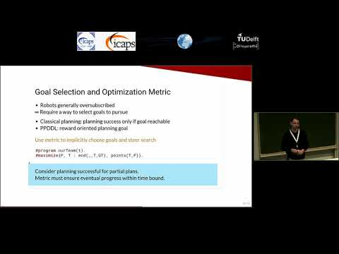 "ICAPS 2018: Tim Niemueller on ""ASP-Based Time-Bounded Planning for Logistics Robots"""