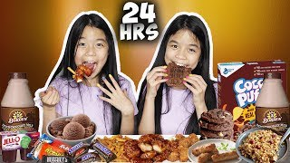 We Only Ate BROWN FOOD for 24 HOURS Challenge!