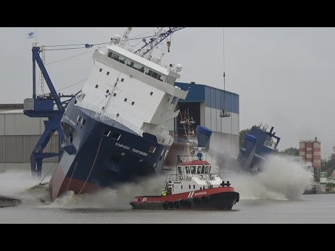 Must See Spectacular Big Ship Launch | SYMPHONY PERFORMER | Ferus Smit Shipyard Leer