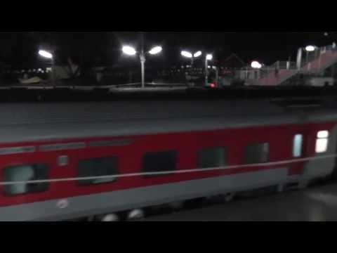 12423 Dibrugarh Rajdhani arrives at Lumding (February 25, 2013)