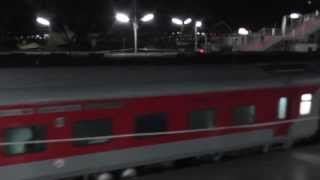 12423 Dibrugarh Rajdhani arrives at Lumding (February 25, 2013)