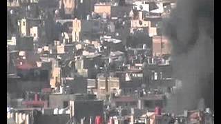 الدخان عقب الانفجار قرب ساحة التحرير بدمشق 17-3-2012