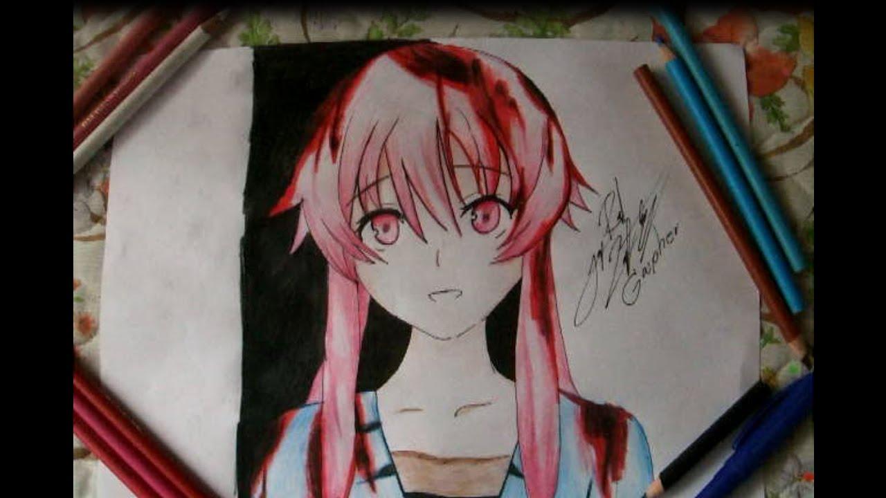 Como Dibujar A Gasai Yuno / Mirai Nikki 未来日記 (GASPHER