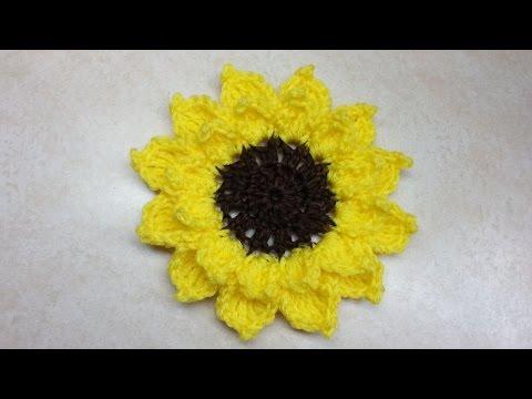 CROCHET How to #Crochet Large Sunflower #TUTORIAL #166 LEARN CROCHET