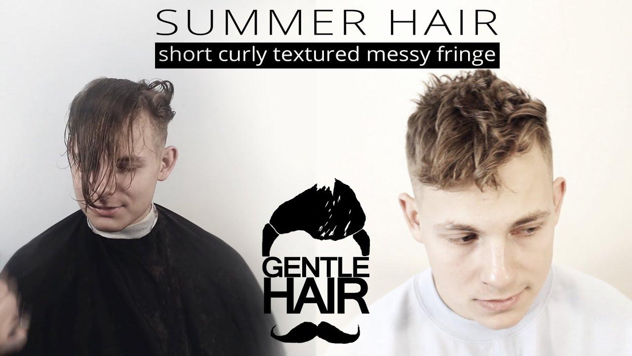 Men S Short Curly Textured Messy Fringe Look Summer Hair