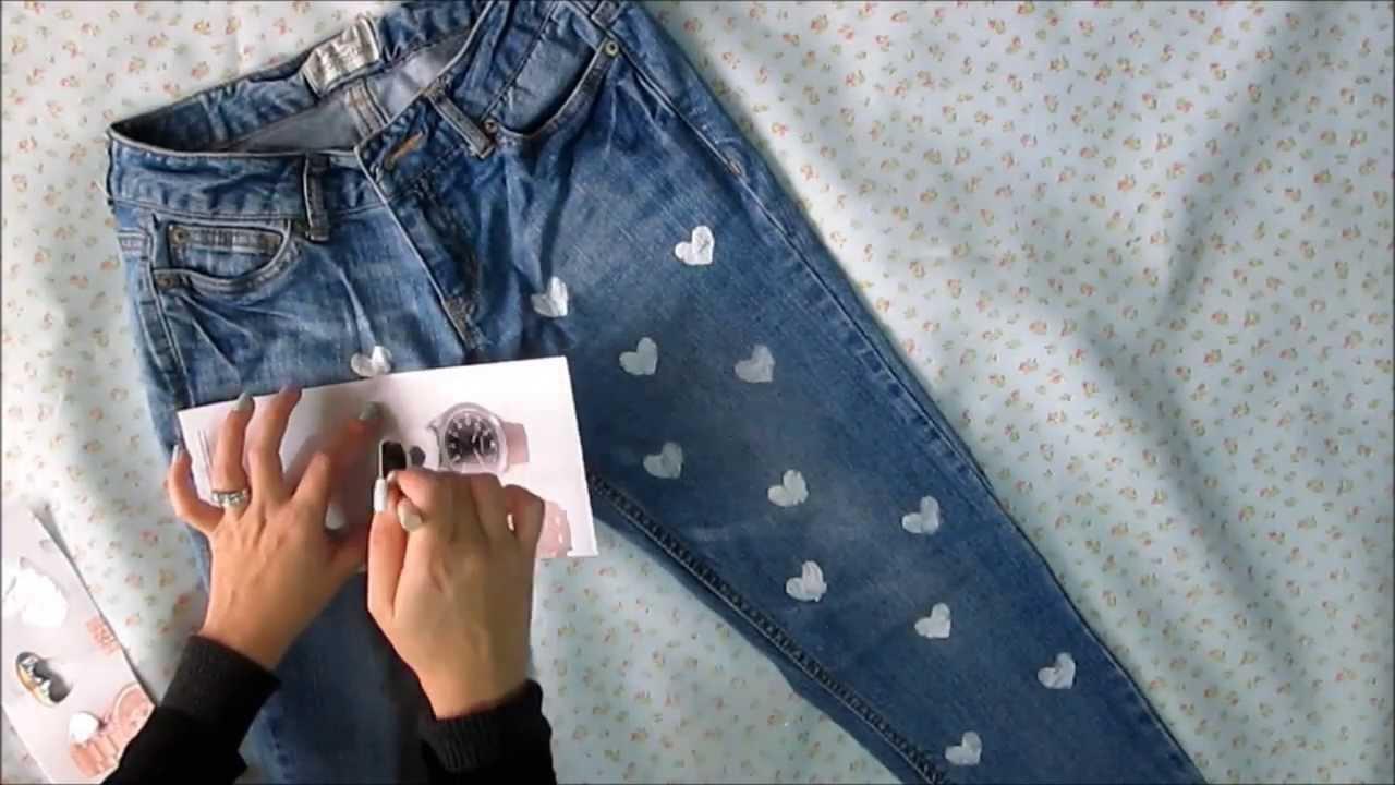 Decora tus jeans diy valentines day youtube - Decorar pantalones vaqueros ...