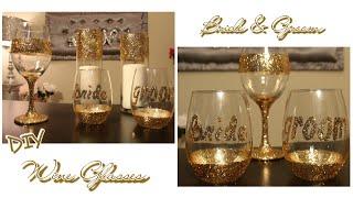 How to make Glitter Wedding Wine Glasses   Bride & Groom toasting glasses   Dollar Tree Wine Glass