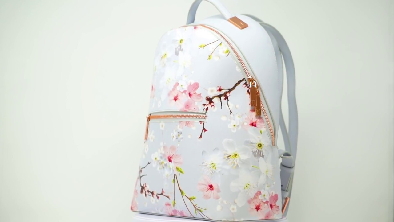 28f2bbf80 Ted Baker DARISSA Oriental Bloom Light Grey Leather Backpack - YouTube