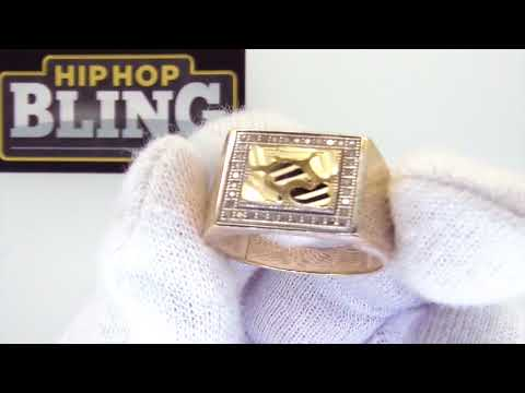 CZ Clean Nugget Ring 10K Yellow Gold | Hip Hop Mens Fashion | S10KR3002Y