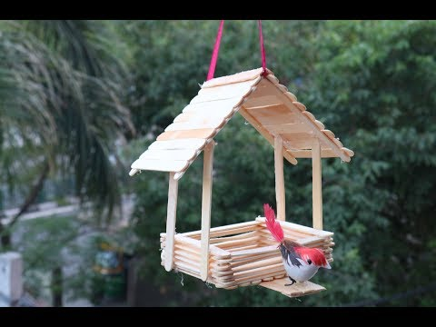 DIY Best Out Of Waste Ideas/Making bird house/Wall hanging/Home decor/Popsicle stick craft idea