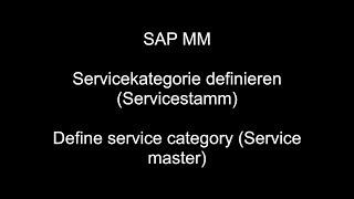 (Hizmet ana)SAP MM - Define servisi kategorisi