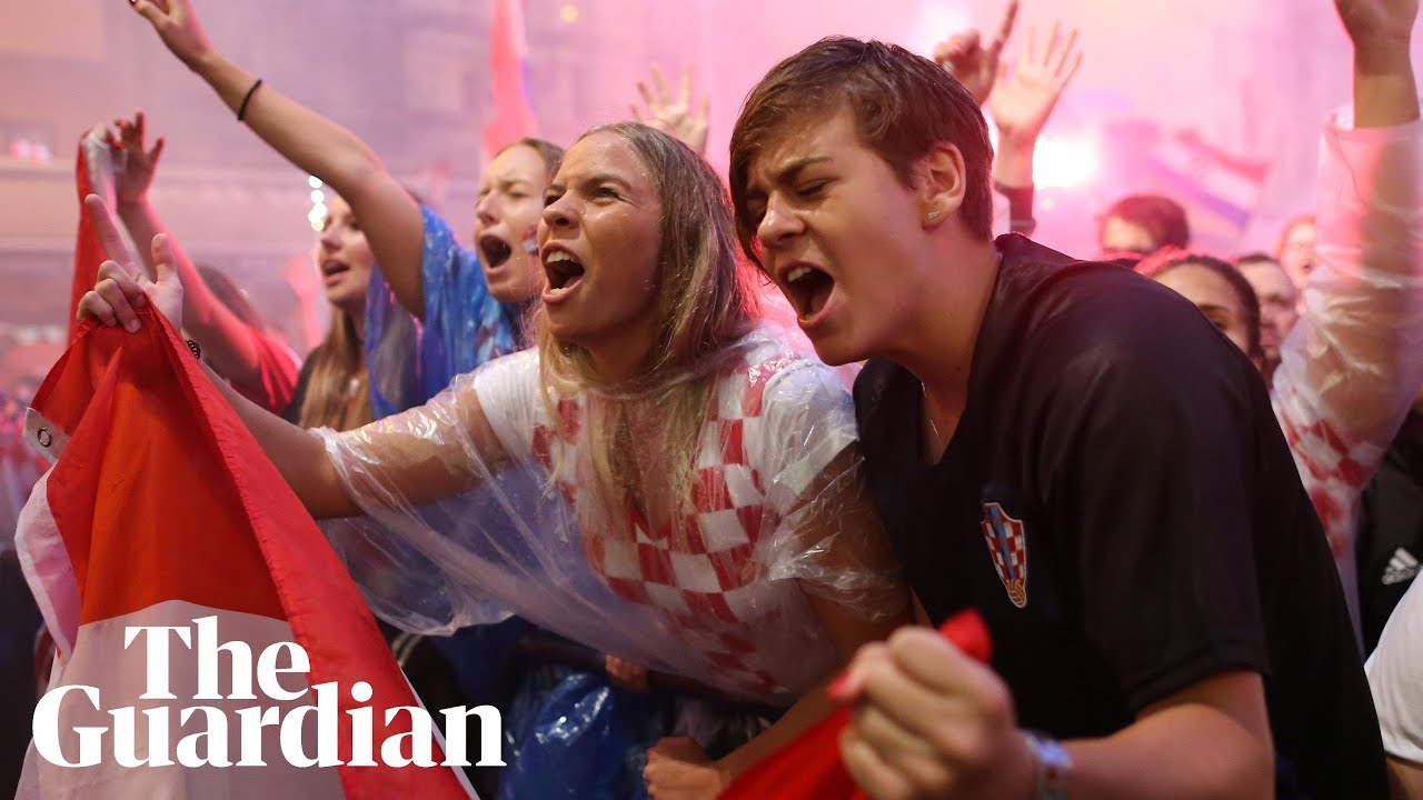 Download Fans in Zagreb celebrate Ivan Perisic's goal for Croatia against England