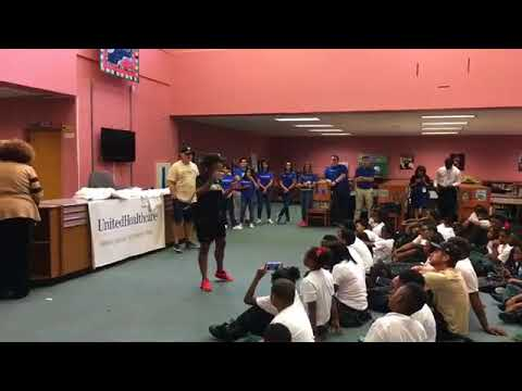 Watch as King Charter students get fit alongside the New Orleans Saints