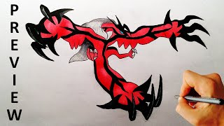 How to draw Yveltal from Pokemon X Y drawing lesson preview
