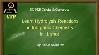 Hydrolysis reactions in Inorganic Chemistry