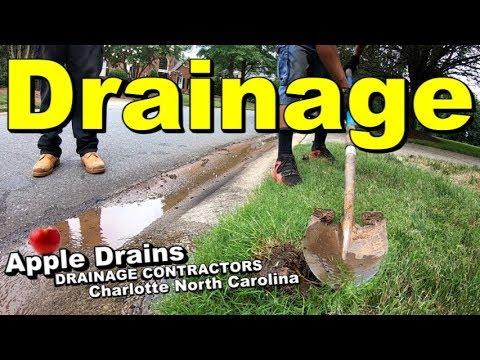 Lawn Drain, Yard Drain, Downspout Pipe, Charlotte NC, Apple Drains, Drainage Contractors