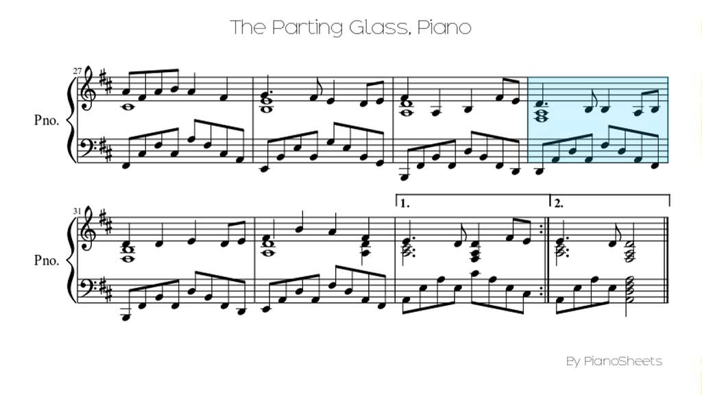 The Parting Glass Piano Solo Youtube