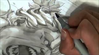 Joe Ng drawing Akuma