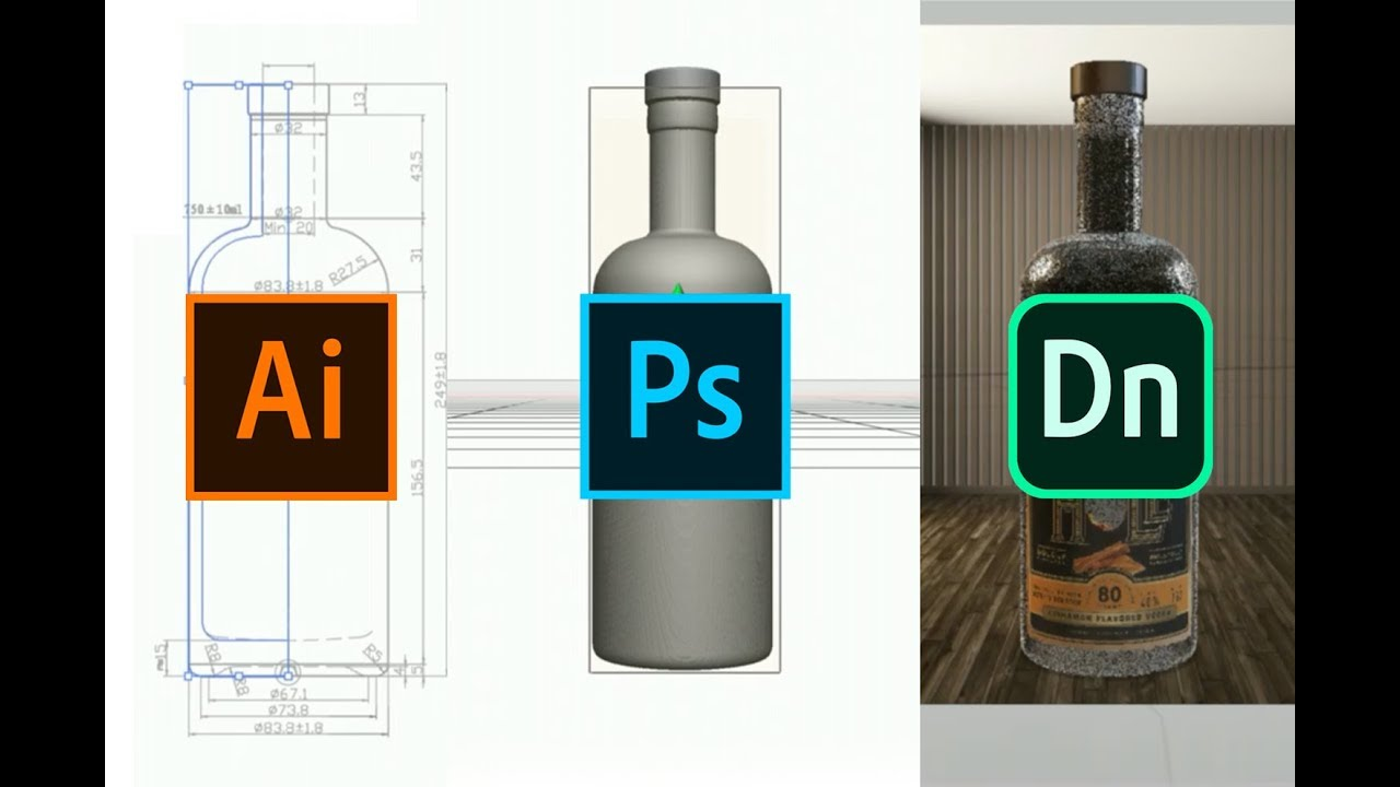 Create 3D objects (.OBJ) using Illustrator & Photoshop for Adobe Dimension product mock-ups - YouTube