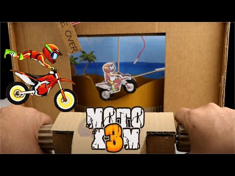 How to Make Motorcycle Racing Moto X3M Game from Cardboard |