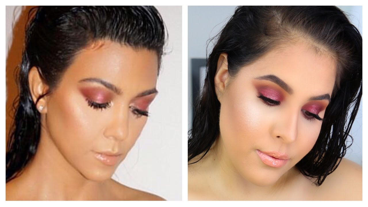 kourtney kardashian inspired cranberry eye makeup tutorial