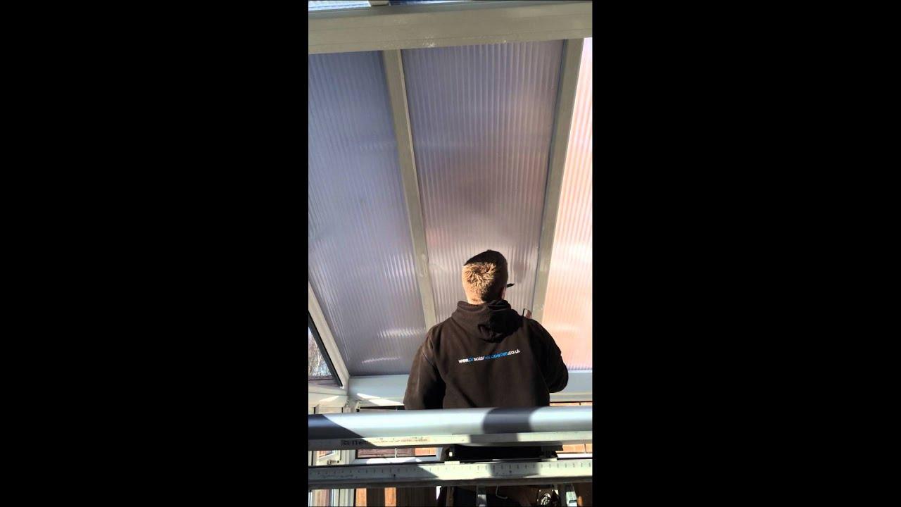 Pr Solar Window Film Applying Solar Window Film To Polycarbonate Conservatory Roof Youtube