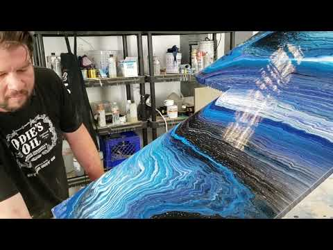 Acrylic Pour on a Kitchen COUNTER!!!