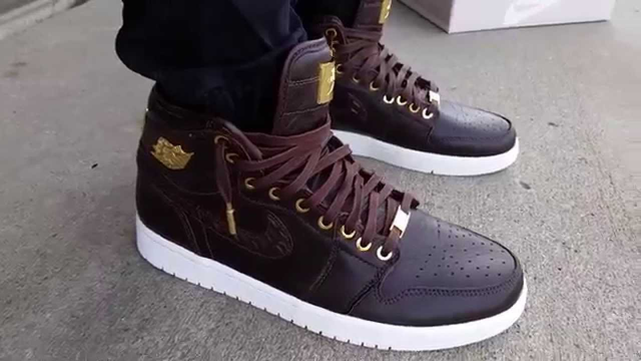 super popular 99146 5516a NIKE AIR JORDAN 1 RETRO PINNACLE BROWN CROC CROCODILE GOLD WHITE ON FEET  REVIEW HEAT! - YouTube