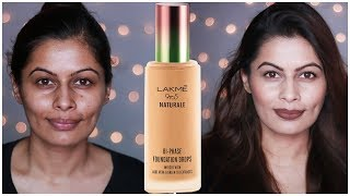 Lakme 9 to 5 Naturale Foundation Drops Review + Demo + Wear Test | First Impressions | Kavya K