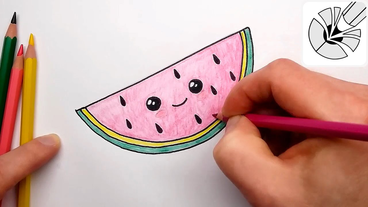 How To Draw A Cute Watermelon Slice Kawaii Food Drawing And Coloring Youtube