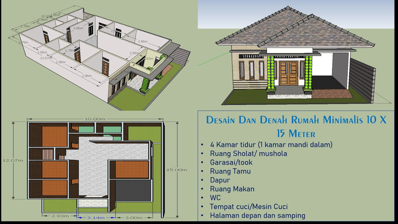 model rumah 3 kamar tidur 1 mushola