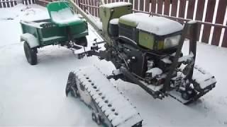 Снег лыжи тяжелый мотоблок на гусеницах и первые поломки