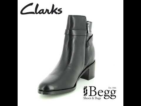 Clarks Poise Freya D Fit Black Leather Ankle Boots