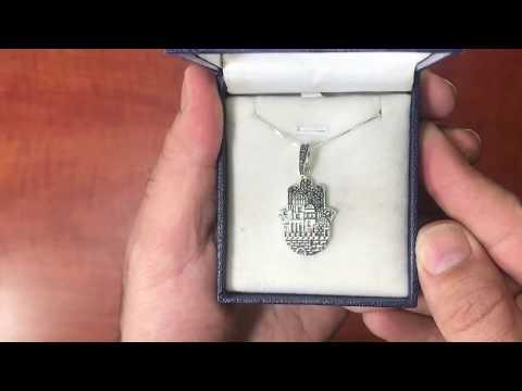 "SA1787 - AHARONI Beautiful Silver 925 ""Hamsa"" Jerusalem walls pendant."