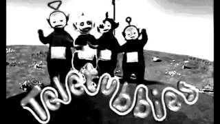 teletubbies in black and white