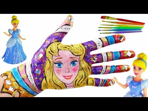 Thumbnail: Learn Colors for Kids Body Paint Disney Princess Painted hands Learning Video for Children