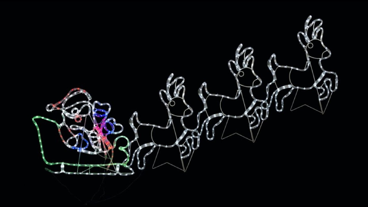 Rope Light Silhouettes - LED Santa Sleigh   Reindeers - 2.5m - YouTube 09d7660d0